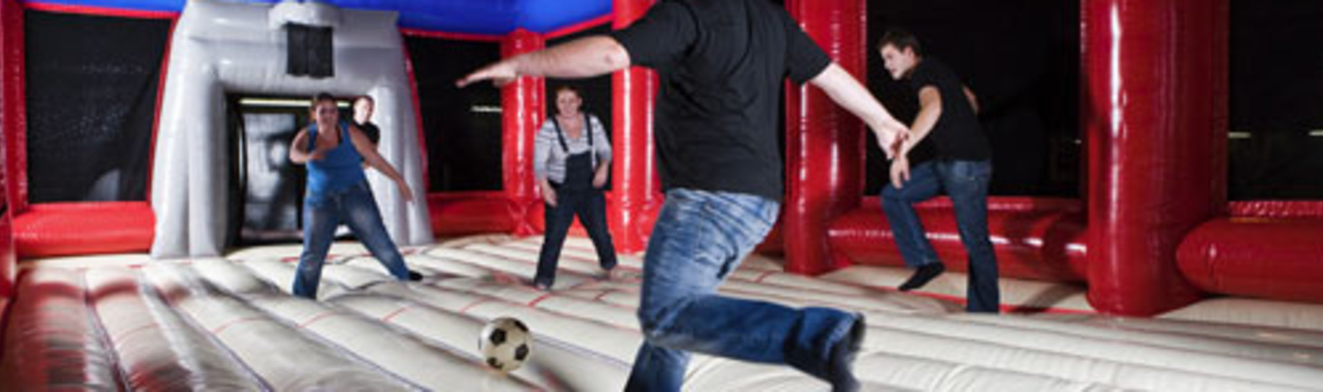 Football in a bouncy castle